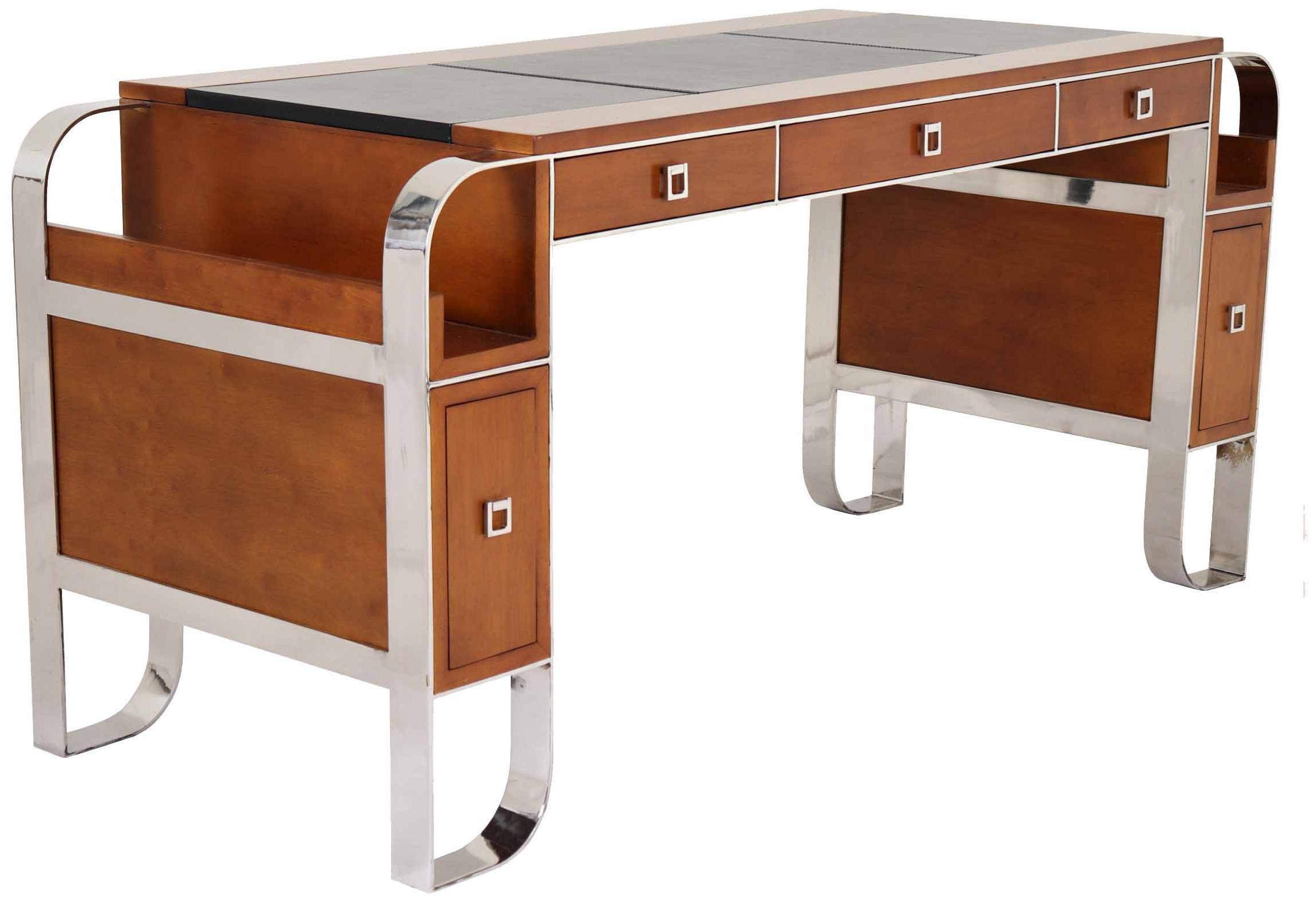 Bureau secrétaire en bois noir et doré de style meubles japonais