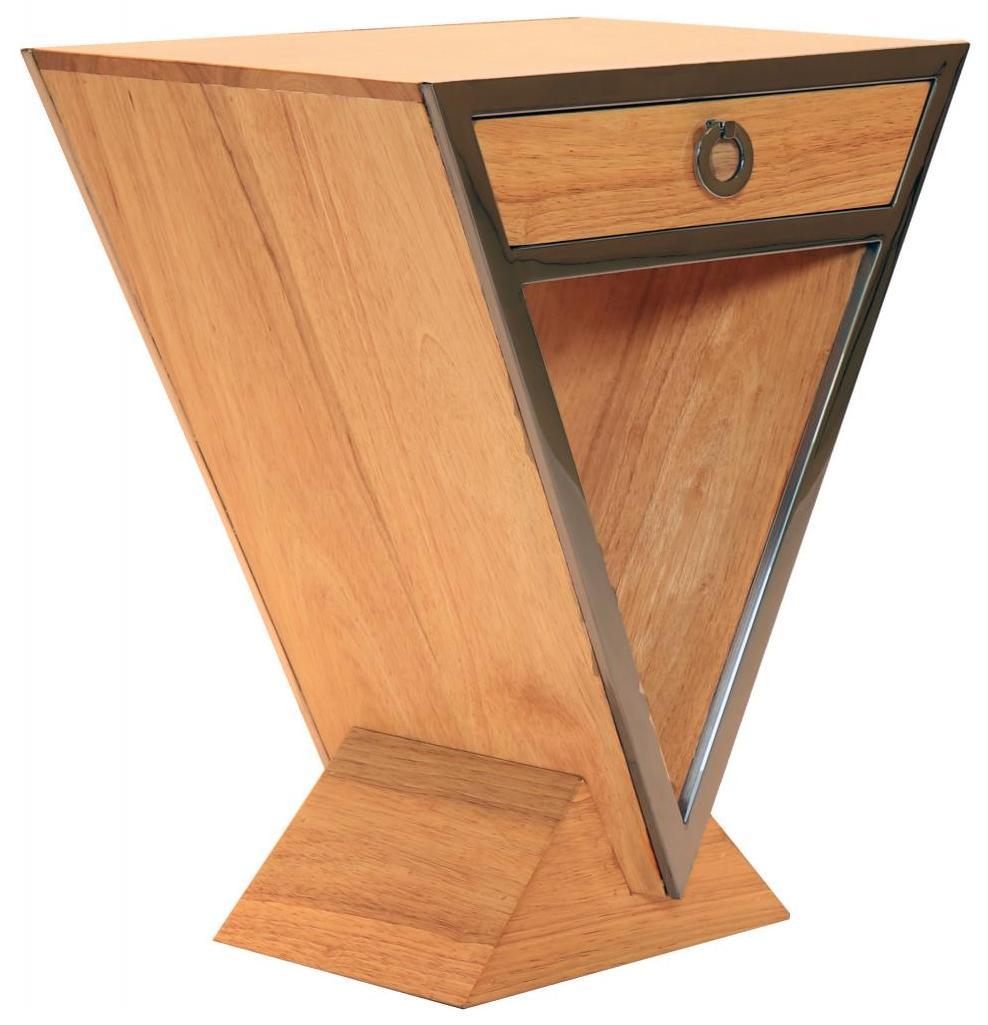 Delta Kleine Kommode Im Inox Design Aus Edelstahl Und Hellerem Holz