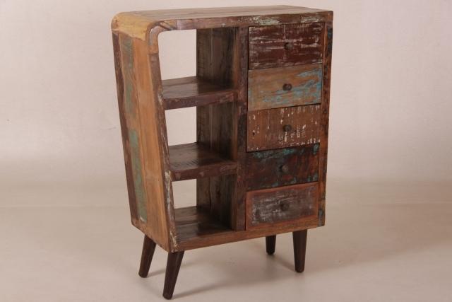 weichholz retro kommode mit 5 schubladen. Black Bedroom Furniture Sets. Home Design Ideas