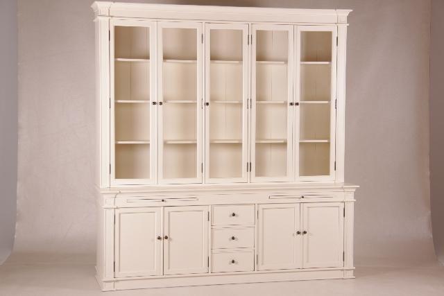 gro e vitrine mit 5 glast ren wei french white. Black Bedroom Furniture Sets. Home Design Ideas