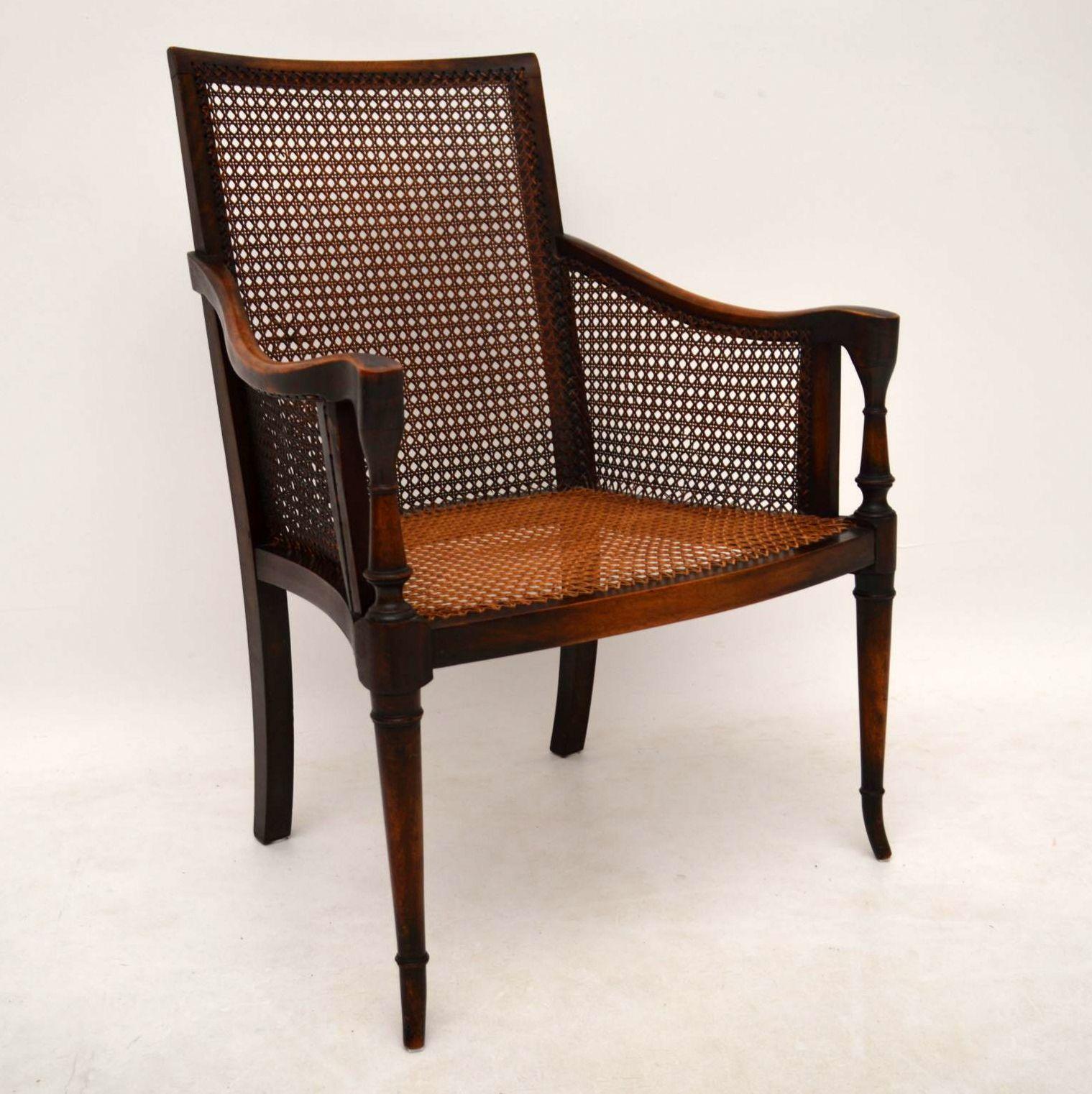 paar antike mahagoni rohr sessel. Black Bedroom Furniture Sets. Home Design Ideas
