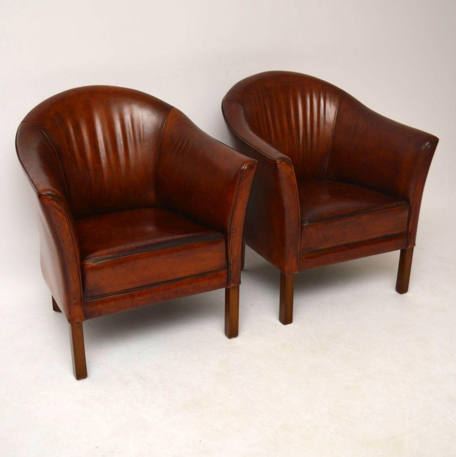 paar schwedische antike leder sessel braun. Black Bedroom Furniture Sets. Home Design Ideas