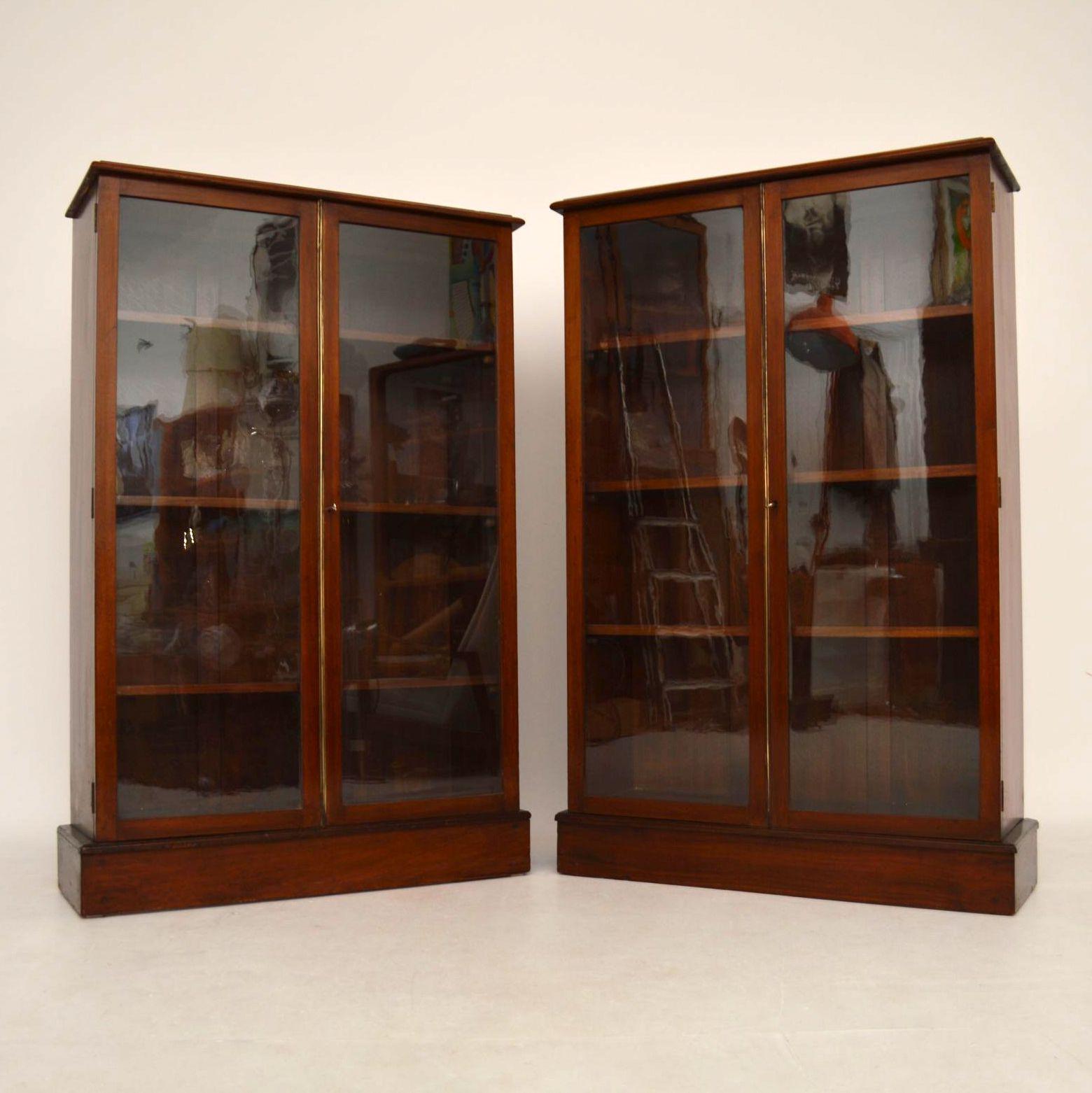 Paar Antiker Mahagoni Bücherregale Vitrine Showcase Bücherschrank