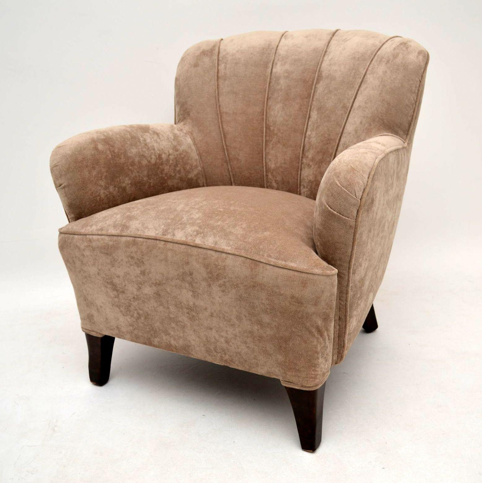 paar art deco schwedische scallop sessel fernsehsessel. Black Bedroom Furniture Sets. Home Design Ideas