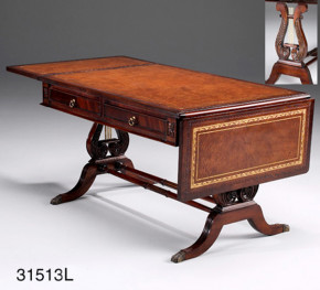 Kleiner Tisch -  Coffee Table Drop Leaf Leder