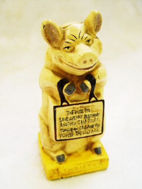 """the wise pig"" Dose Schwein"