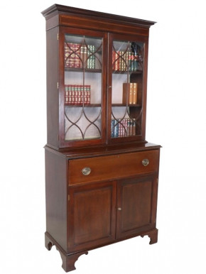 Antikes Secretaire Bookcase / Sekretär mit Aufsatz, Mahagoni, ca. 1890