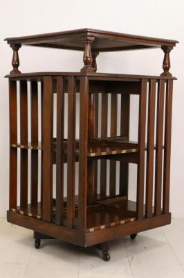 Antikes Revolving Bookcase mit Messing Plaketten, Mahagoni, ca. 19. Jahrhundert