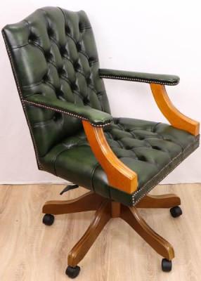 """Chesterfield Bürostuhl """"Gainsborough"""", grünes Leder"""