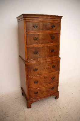 Antique Georgian Style Burr Walnut Bow Fronted Chest on Chest
