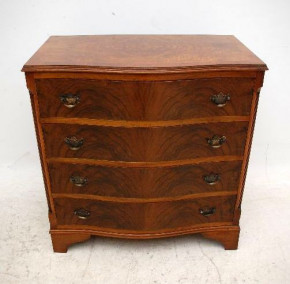 Antique Georgian Style Figured Walnut Chest of Drawers