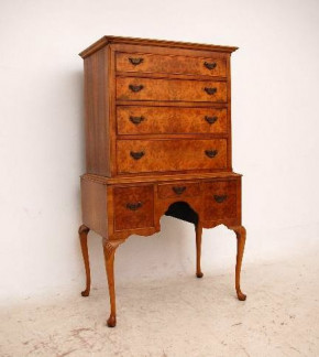 Antique Queen Anne Style Burr Walnut Tallboy on Legs