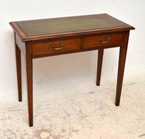 Antique Edwardian Mahogany Leather Top Writing Table Desk
