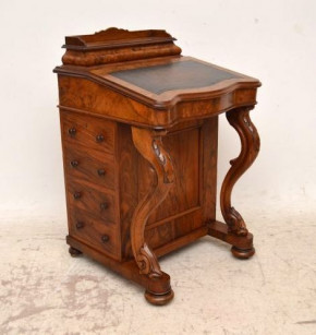 Antique Victorian Burr Walnut Davenport Desk