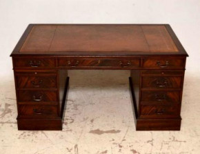 Large Antique Georgian Style Mahogany Leather Top Desk