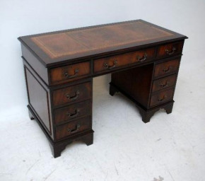 Antique Georgian Style Mahogany Leather Top Desk