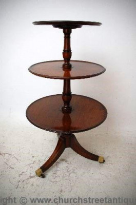 Large Antique Georgian Style Mahogany Circular 3 tier Stand