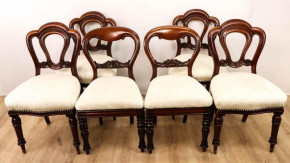 Antikes viktorianisches Stuhlset aus Mahagoni Massivholz, Ballon Back Chairs, 6teilig, Antik
